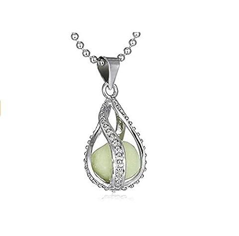 Most Beloved Women The Little Mermaid's Teardrop Glow in Dark Pendant Necklace Vintage Glowing Jewelry by Most Beloved