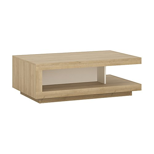 Furniture to Go Table Basse Design Riviera Chêne/Blanc Brillant, Bois