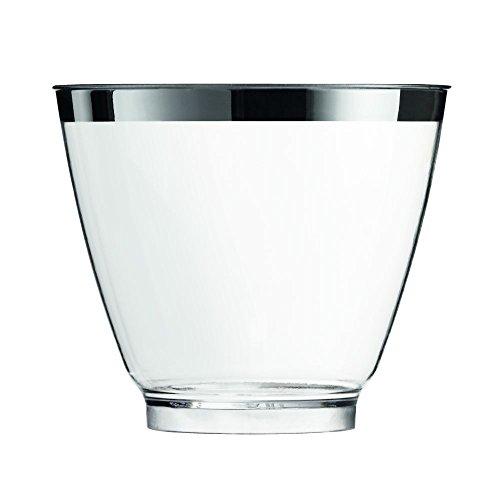 Sovie Servingware | Einweg Fingerfood Glas 80ml aus PS (Polystyrol) | Silberrand modernes Design | Transparent | 40 Stück