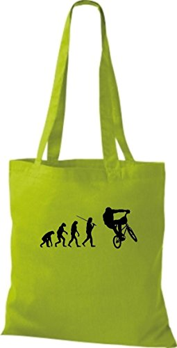 Borsa Di Stoffa Tinta Unita Jute Evolution Moto Bike Biking Stunt Freebike Biker Color Verde Lime Variegato