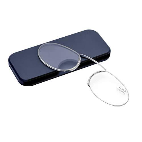 PANGHU Lesebrille Pince Nez Bügelloser Nasen-Zwicker Kompakte leichte randlose brillen Brillengestelle für damen und herren