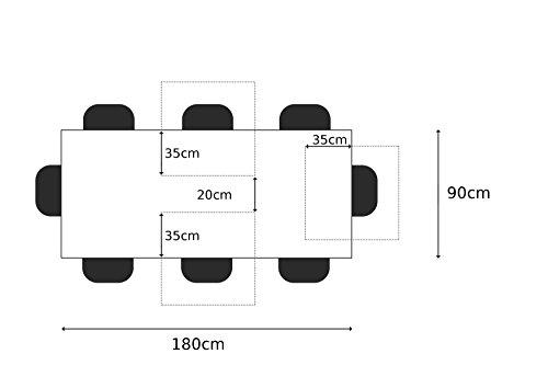 Table à manger 180x90cm - Bois massif d'acacia laqué (Fer brut/Bois Taupe) - Design naturel - FREEFORM 3