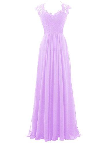 Dresstells Bodenlang Abendkleider Elegant Chiffon Brautjungfernkleider Lavender