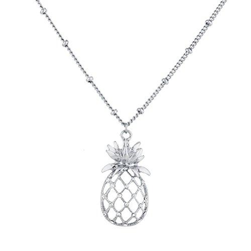 LUX Zubehör Silber Ton Ausschnitt Tropical Fruit Ananas Anhänger Halskette Tiffany Toggle Halskette