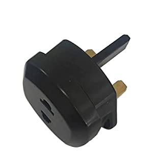 UK Travel Converter Adaptor Plug 2 Pin Euro to UK 3 Pin Plug Adaptor up to 5 Amp (Black)