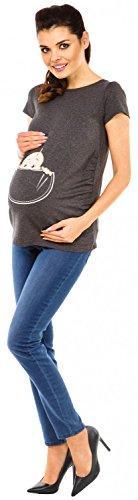 Zeta Ville - Damen Umstands Shirt Oberteil Top Witzige Spähen Baby Motiv - 501c Graphit Melange