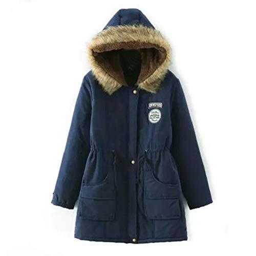 (Bluelucon Damen Winterjacke,Wintermantel Lange Mantel Daunenjacke Baumwolle Parka Jacke Outwear Winter Warm Trenchcoat mit Abnehmbarer Pelzkragen Steppjacke Übergangsjacke)