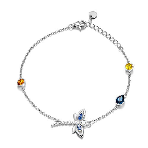 Libelle Fußkettchen Sterling Silber 925 Damen Fusskettchen mit Kristallen von Swarovski 28 cm