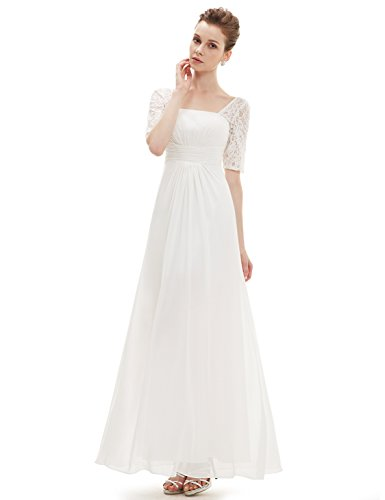 Ever Pretty Damen Halber Arm Quadratischer Kragen Faltenwurf Taile Lange Abendkleider 08038 Weiß
