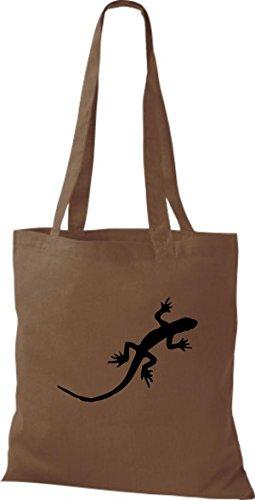 ShirtInStyle Stoffbeutel Gecko Echse Leguan Baumwolltasche Beutel, diverse Farbe chestnut