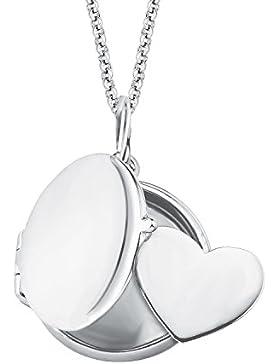 s.Oliver Damen-Kette mit Anhänger Medaillon Herz gravierbar 925 Silber rhodiniert 45 cm - 2015002