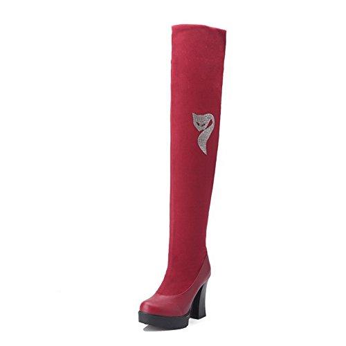 AgooLar Damen Ziehen auf Hoher Absatz PU Rein Hoch-Spitze Stiefel, Rot, 35