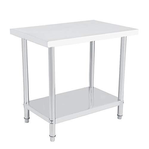 Professioneller Arbeitstisch aus Edelstahl, doppelwandig, höhenverstellbar von Catering und Arbeitstisch aus Silber für Küche und Operationen