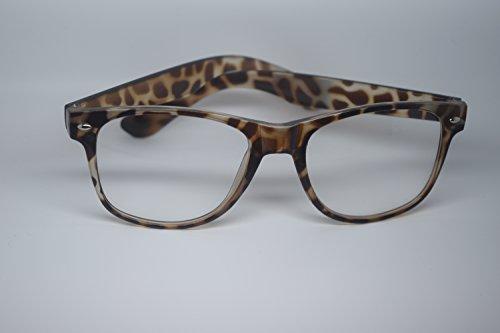 Arcton® Leoparden Retro übergroßen Stil Rahmen-Nerd Geek Glasses