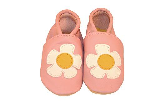 Chaussures artisanales Three Little Imps en cuir souple pour bambins - Joli motif de marguerite sur fond rose pâle 12 - 18m (DYPP) rose