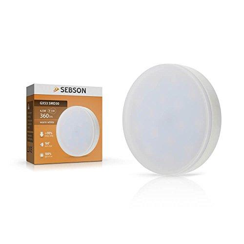 Sebson GX53 LED Lampe 4,5 W, 360 lm Ersetzt 30 W, SMD LED Leuchtmittel 110 Grad Abstrahlwinkel, warmweiß GX53_SMD30