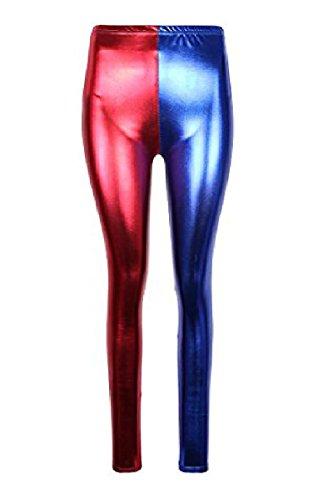 Harley Kostüm Sexy Quinn - JanisramoneNeue Damen Harley Quinn Kostüm Suicide Squad Metallisch Glänzende Optik Leggings Hosen