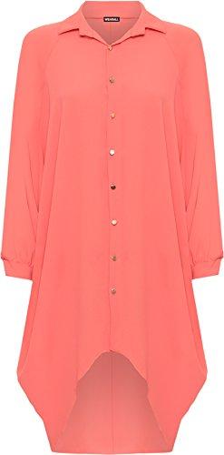 WEARALL Damen Übergröße Batwing Hemd Kleid Lang Hülle Tauchen Saum Hi Es Schaltfläche Kragen Damen - Koralle - 52-54 (Damen Ärmel Kleid Batwing)