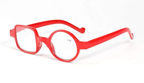 GHzzY Resin Frame Lesebrille - Round + Rectangle Irregular Fashion Readers - Lesebrille für Männer und Frauen,Rot,+3.00