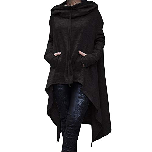 CixNy Damen Kapuzenjacke Langer Unregelmäßiger Kapuzenpullover Asymmetrische Bluse Uniform Sweat-Shirt Einfarbige Pullover Tunika Weste (Schwarz, M) -