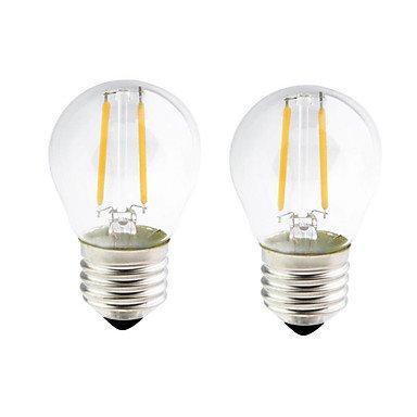 ONDENN 2pcs 2W 200 lm E26/E27 Ampoules à Filament LED G45 2 diodes électroluminescentes COB Intensité Réglable Blanc Chaud AC 100-240 AC