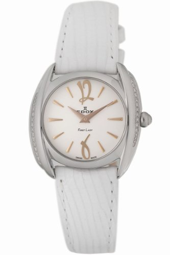 Edox Women's 21230 3D AIR First Lady Leather Diamond Watch