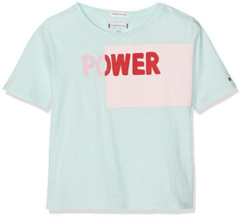 Tommy Hilfiger Baby-Mädchen Bold Blocking Text S/S Tee T-Shirt, Blau (Blue Light 483), (Herstellergröße: 86) -