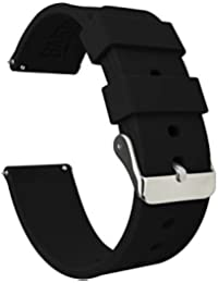 Barton Silicone Watch Bands - Quick Release Straps - Choose Color & Width - 16mm, 18mm, 20mm, 22mm - Black 22mm