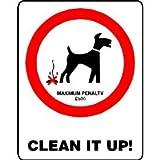 L1433Grande Clean It Up Dog avis avertissement de sécurité plaque murale en métal