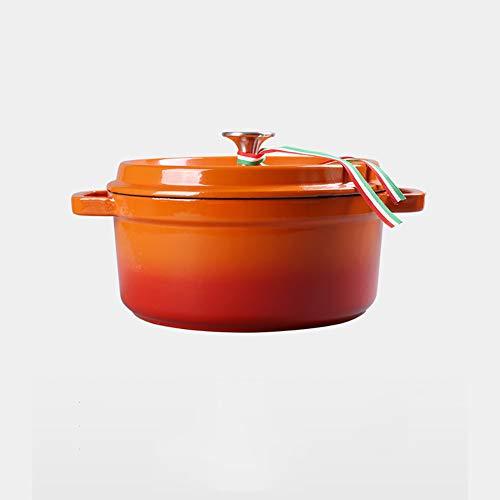 Cocotte en fonte, creuset, marmite ronde 22cm / 24cm / 26cm,Orange,22cm