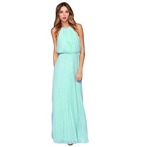 CAOQAO Damen Strandkleid Formale Chiffon Lose ärmellos Prom Abend Abendgesellschaft Langes Maxikleid