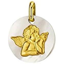 Médaille Ange 14 mm, Or Jaune massif 18k & Nacre (Lourdes - Vatican)