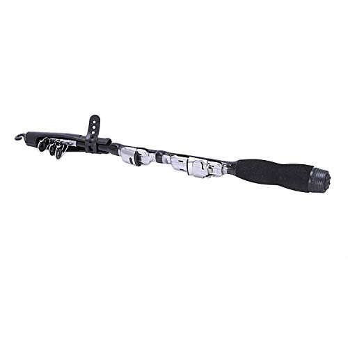 LMEIQUN, Mini Tragbare Teleskop Angelrute Spinning Carbon Fisch Hand Angelgerät Meeresrute Ocean Rod Angelrute Ohne Rolle (Color : Black, Size : 1.2m)