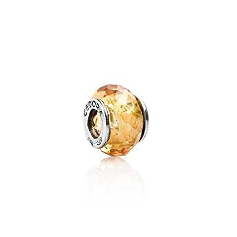 Teora: Silver & Faceted Amber CZ Charm: 12mm