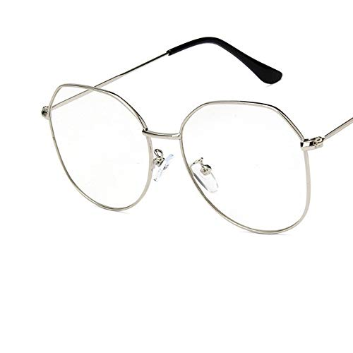 Sonnenbrille Big Frame Frauen Gläser Silber Rahmen Metall Brillen Vintage Klare Optische Gläser Fake Gläser