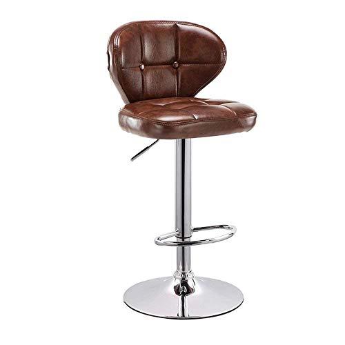 S&RL Ladder Hocker Aufbewahrungssessel, Drehsessel Barstuhl aus Leder Bar Bar Lounge-Stuhl Boden Sitz Weiches Metallkissen, Höhenverstellbar 63-83Cm, Braun -