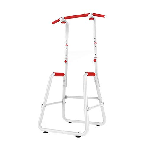 PQXOER Dip-Station Power Tower Gym Einstellbare Multi-Funktions-Fitnessgeräte Klimmzugbügel Ständer Workout-Station Dip Barren (Color : White, Size : 210x110x88cm)