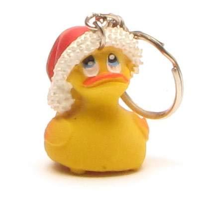 DUCKSHOP I Badeente - Weihnachtsmann Schlüsselanhänger I Quietscheente I L: 3 cm