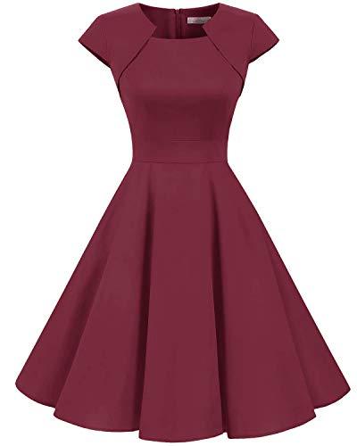 HomRain Damen 50er Vintage Retro Kleid Cocktail Party Kurzarm Rockabilly Abendkleider Dark Red M Party Kleid