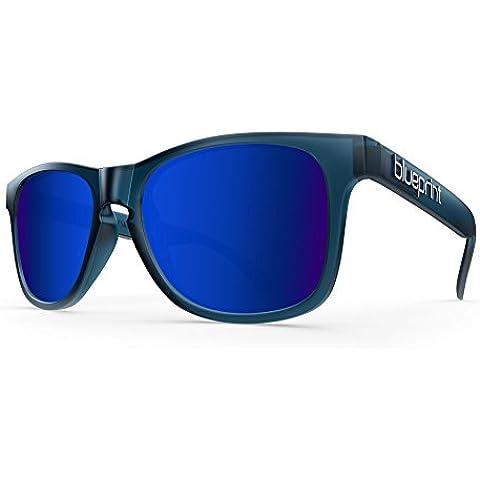 Blue print Noosa // Colore blu scuro Marina, opaco scuro blu occhiali da sole polarizzata blu specchio in vetro