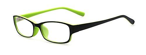 Outray Kinder Klassische Retro Rechteck klare Linse Brille,Wechselgläser Brillenfassungen Für Jungen Und Mädchen, Grün