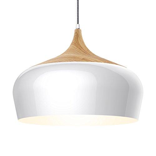 Tomons Pendelleuchte Holz rustikal mit Nylon-ummantelten Netzkabel, E27, max. 60W Glühbirne oder 12W LED-Lampe, Lampenschirm 45 cm Durchmesser, für Esszimmer, Wohnzimmer, Arbeitszimmer, etc. PL1001