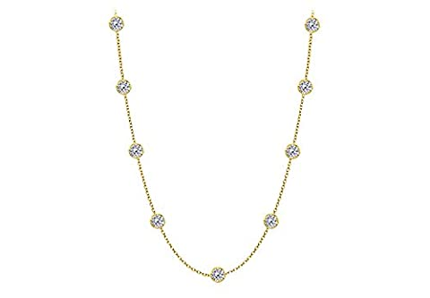 Diamond Station By yard Necklace in 14K yellow Gold 1.50 Carat Diamonds