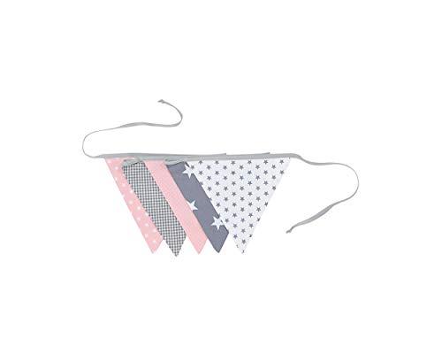 BEBILINO ® Wimpelkette Rosa Grau (Stoff-Girlande: 1,9 m Länge, 5 Wimpel, farbenfrohe Deko für Kinderzimmer & Baby Geburtstage, Motiv: Sterne) - 2