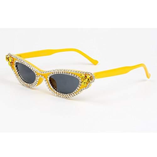 LKVNHP Neue Modemarke Designer Strass Sonnenbrille Frauen Vintage Cat Eye Sonnenbrille Kleinen Rahmen Herren Sonnenbrille Rot Schwarz Oculos De SolGELB