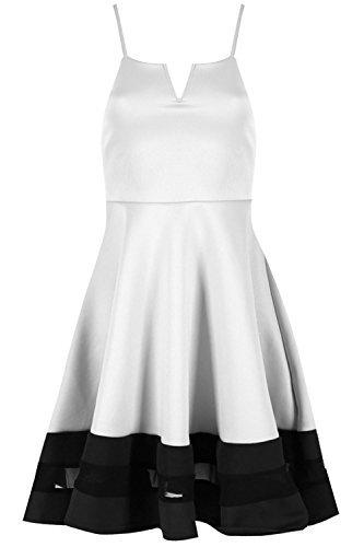 Be Jealous femmes CARACO Insert maille Contraste col V à lanières SWING Skater robe grande taille UK 8-26 Crème/Noir