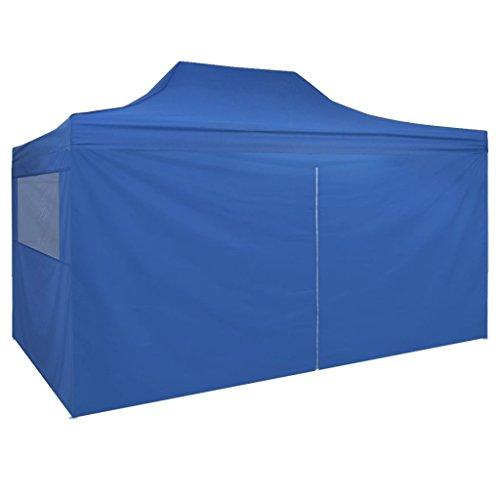 Vidaxl gazebo automatico richiudibile 4 pareti 3x4,5 m blu tenda giardino