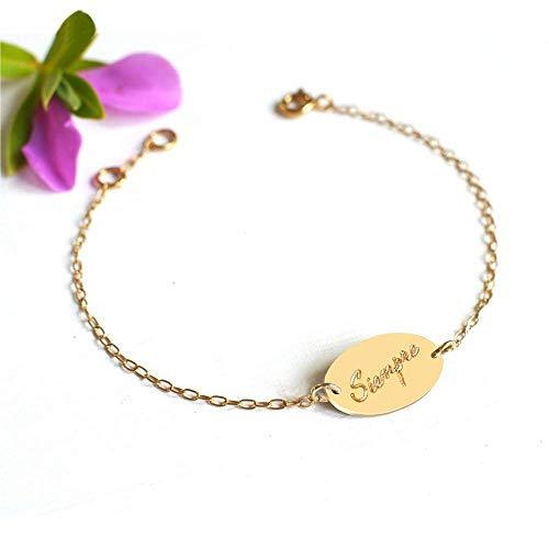 Pulsera de disco ovalado oro personalizada 'Forever' o 'Siempre', pulsera de disco ovalada, pulsera para siempre, regalo de aniversario, regalo de amistad