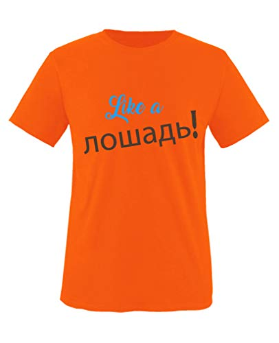 Comedy Shirts - Like a Pferd! Russisch - Jungen T-Shirt - Orange/Blau-Braun Gr. 86/92