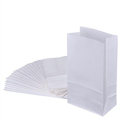 Bolsa de Compra Bolsa de Papel Kraft Bolsa de Papel de la Parte Inferior Plana Bolsa de Comida, 20 Piezas (Blanco, S)